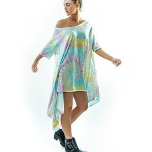 Rokoko drapey t-shirt dress in tie dye